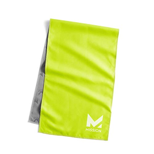 """Mission Original Cooling Towel- Evaporative Cool Technology, Cools Instantly when Wet, UPF 50 Sun Protection, For Sports, Yoga, Golf, Gym, Neck, Workout, 12"""" x 33""""- Hi Vis Green"""