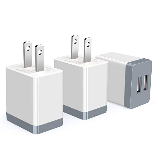 Wall Charger,3 Pack Sicodo Travel Smartphone Chargers USB Block Cubes Power Adapter Charging Station Box Compatible with iPhone 11/X/8/7 /6 Plus/iPad,Samsung Galaxy,and Other USB Plug Devices