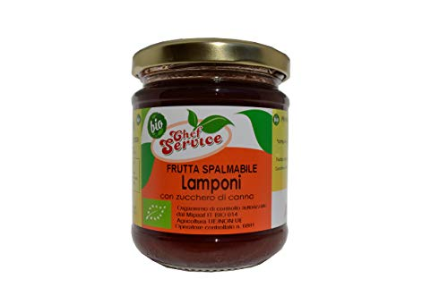 Chef Service - Confettura di lamponi biologica da lamponi freschi, gr 210, ricetta artigianale di Chef Service, frutta spalmabile bio