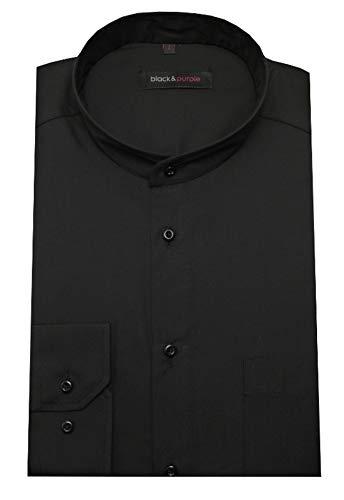 HUBER Stehkragenhemd schwarz XL