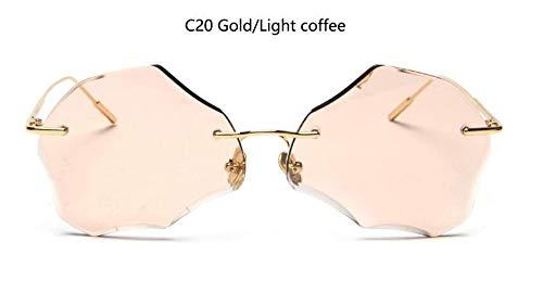 KONGYUER Sonnenbrillen, Brillen,Goldkaffee Randlose Brillengläser Damen Unregelmäßige Sonnenbrillen Retro-Metall-Sonnenbrillen Designer-Brillengläser Uv400