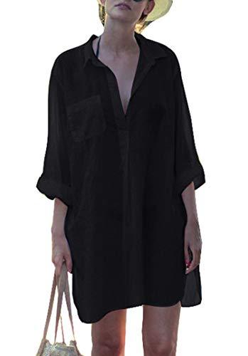 Belloxis Strandkleid Damen Sommer Blusenkleid Hemdkleid Strand Kimono
