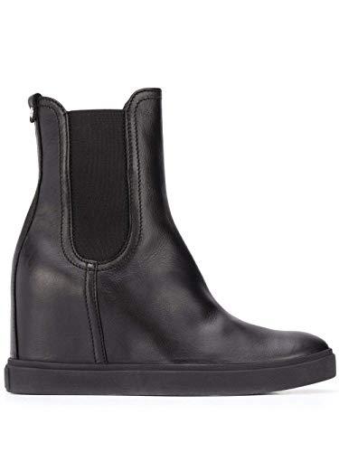 AGL Stiefeletten mit schwarzer Plattform, elastische Seitenteile, Slip-on-Stil, Zehenspitze, Knöchel-Design und Keilabsatz mit Plattform., Schwarz - Schwarz - Größe: 36.5 EU