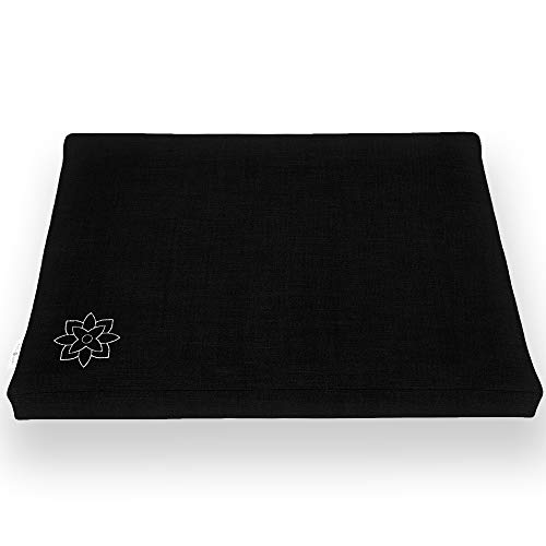Mindful and Modern Zabuton Meditation Cushion - Cotton Meditating Mat for Best Kneeling and Sitting Support - Large Rectangular Floor Pillow for Zafu or Bench (Minimal Black)