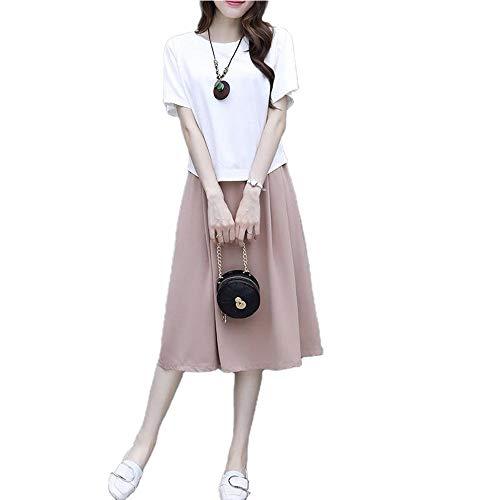 Baumwolle und Leinen Mode Anzug Damen Neu Sommer Lose Rock Kleines Kleid Leinen Zweiteiler Set Gr. 52, Oben Weiß unten Khaki