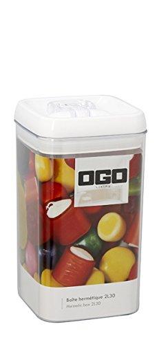 OGO LIVING - Boîte Hermétique Carrée avec Couvercle en plastique blanc Transparent, 2.3 L