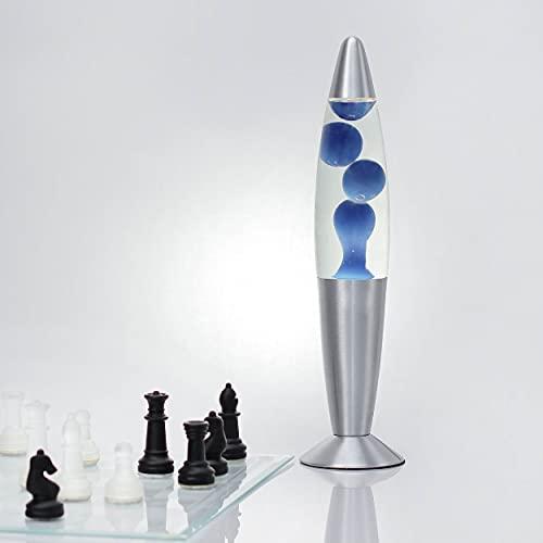 Lavalamp Timmy lampada lava futurista retrò design moderno transparente con effetto magma blu lampadina incl. E14 36 cm ideale per feste, salotto