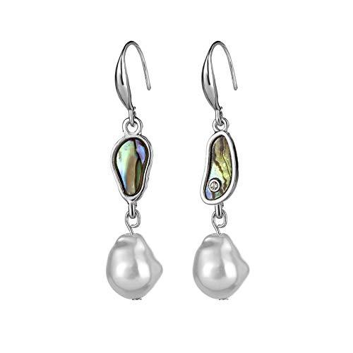 Pendientes de Mujer y Niña de Perlas Colgante Cultivadas de Agua Dulce Tipo Botón Blancas Plata de Ley de 925