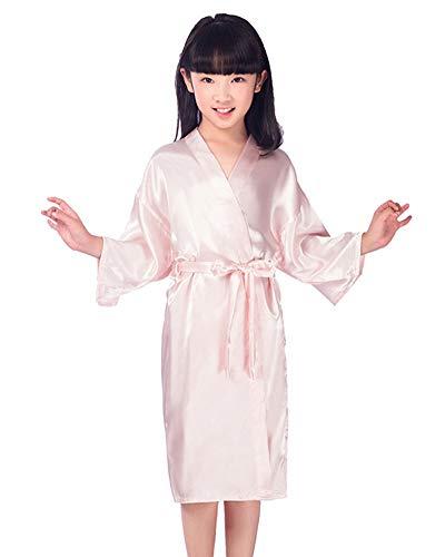 MISSMAOM Niñas Casual Vintage Retro Satén Kimono Robe Albornoz de Seda de Moda para Fiesta de SPA Regalo de cumpleaños de la Boda