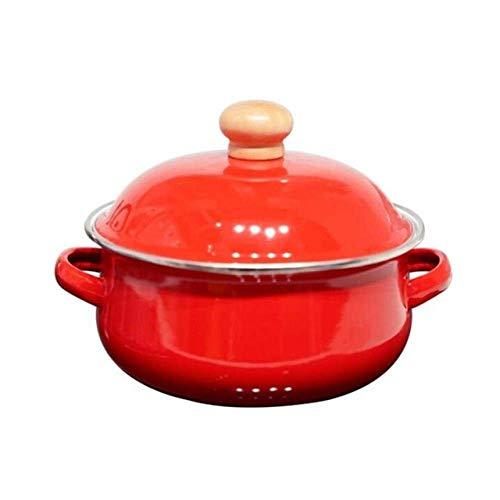 Marmite 18cm 1.5L tomate émail Marmite Mini Pan Lait de nouilles Cuisinière à gaz Marmite, Blanc Huangwei7210 (Color : Yellow)
