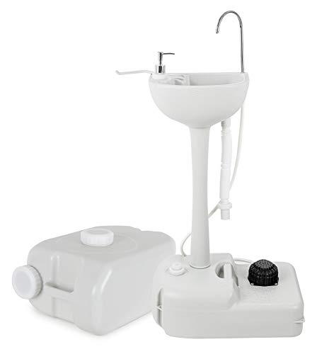 Stagecaptain PSW-17 Quixie Portables Festival Camping-Waschbecken Deluxe Set - Mechanische Fußpumpe - Wassertank mit 17 Liter - inklusive 24 Liter-Auffangbehälter für Abwasser - hellgrau
