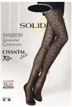 Solidea Chantal Lace 70 Graduated Compression Resting Tights 10-15mmHg Champagne 4 L