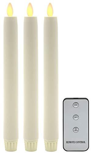 Tronje 3er Set LED Stabkerzen 24cm Ivory-Creme 5h-Timer Kunstkerze Tafelkerze bewegliche flackernde Flamme Bruchsicher