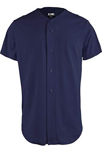 OLLIE ARNES Baseball Jersey, Hip-Hop Shirt Button Down Team Uniform Men Youth Toddler Sizes Plain_Navy L