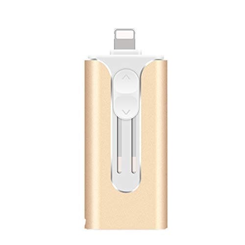 3 in 1 Memory Stick USB 3.0 Flash Drive Compatible with iPhone/ipad, Thumb Drive Photo Stick for Android phones/PC (128GB, gold)