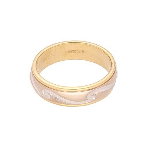 Jollys Jewellers Alianza de boda de oro blanco y amarillo de 18 quilates para hombre en forma de D (tamaño K) 5 mm de ancho