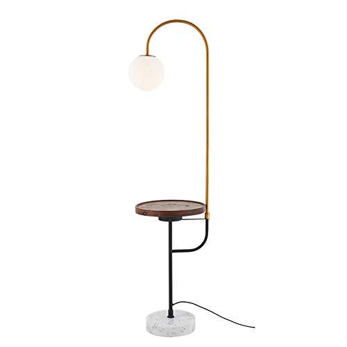 Lámpara de pie, lámpara de pie de pesca nórdica, lámpara de mesita de noche creativa, carga inalámbrica vertical, interruptor táctil, mesa de almacenamiento con USB, madera, nogal 0.00W