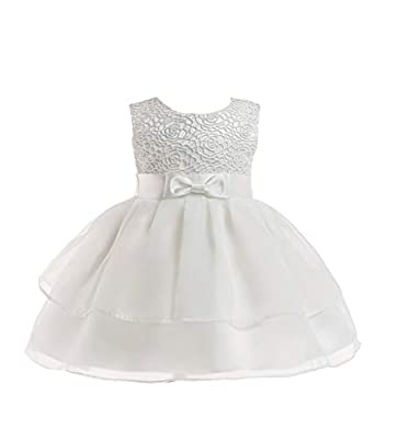 Baby Flower Girl Sleeveless Lace Special Occasion Dress Ruffles Embroider Wedding Birthday Layered Cake Dresses All White Size 18-24 Months Tulle Tutu Ball Gown for Infant Party Off (White XL)