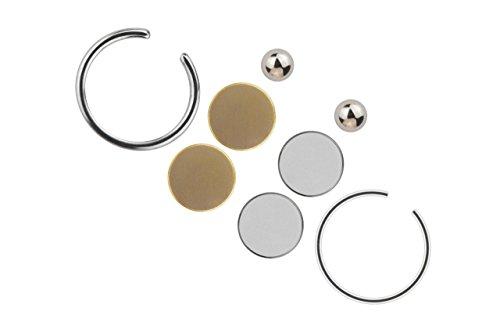 Unbekannt Piercing Schmuck Fake Magnet silberfarbig Kugel 8 teiliges Set