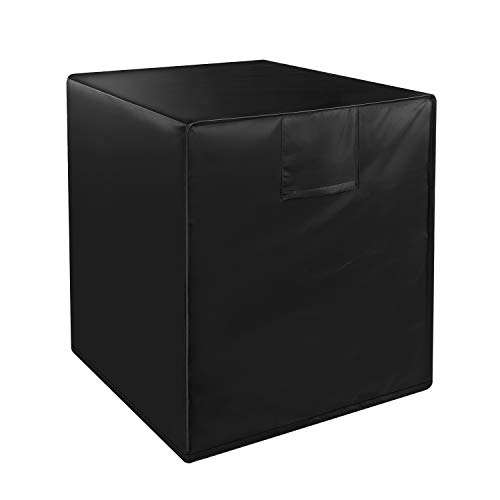 HOCOSY Air Conditioner Covers for Outside Units, Central AC Covers for Outside Square Fits Up to 24 x 24 x 22 inches, Waterproof, Dust-proof and Windproof Durable AC Unit Cover,Black