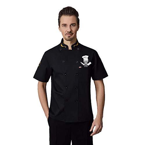 Manche Courte Veste de Chef,Veste de Chef de Cuisinier Uniforme Respirante avec Logo de Cuisinier pour la Cuisine,Noir,5XL