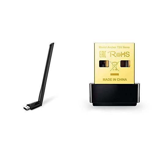 TP-Link Archer T2U Plus Adaptador WiFi USB 5G & 2.4G Hz, Antena Wi-Fi AC 600 Mbps + Archer T2U Nano Adaptador inalámbrico Nano USB de Doble Banda AC600 Mbps