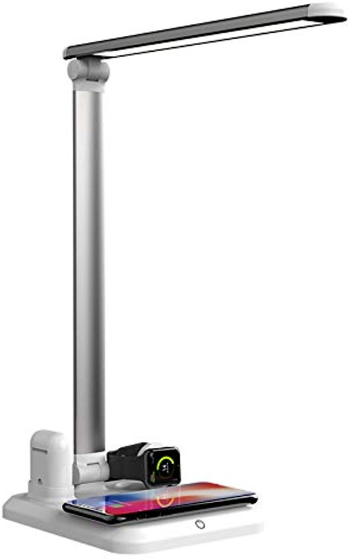 XIYE Drahtloses Ladegert Led Schreibtischlampe Multifunktions Led Tischlampe 5W Touch Tischlampe Silber