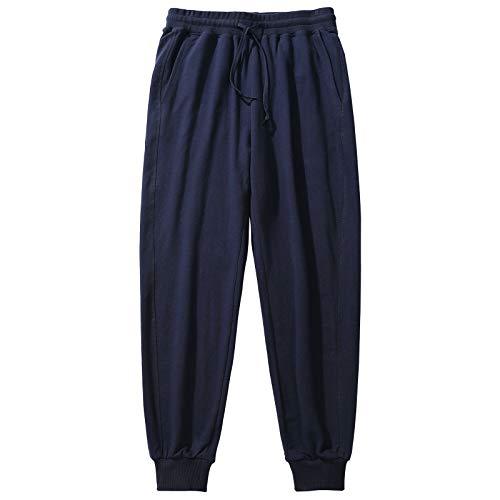 Akkad Kuti Women's Athletic Sweatpants Track Bottoms Organic Cotton Joggers Casual Sports Trousers Drawstring Baggy Pockets (Navy Blue, XL)