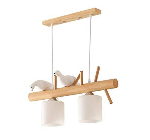 Pendellampe Lampe Mit Vogel Esstischlampe Hängeleuchte Aus Holz Holzlampe Wohnzimmer Hängend Lampe Hängelampe Led Pendelleuchte Esstisch Vintage Japanischen Rustikal Leuchte Braun Nordic (2-Flammig)