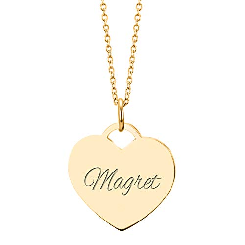 URBANHELDEN - Herzkette mit Wunschgravur - Damen-Kette Namenskette - Amulett in Herzform - Personalisierte Kette Herz Anhänger - Gold