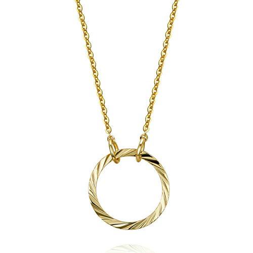 Exquisito Circulo Collar Chapado En Oro Colgante Elegante Joyeria Set La Boda Aniversario Cumpleaños Regalo,Gold