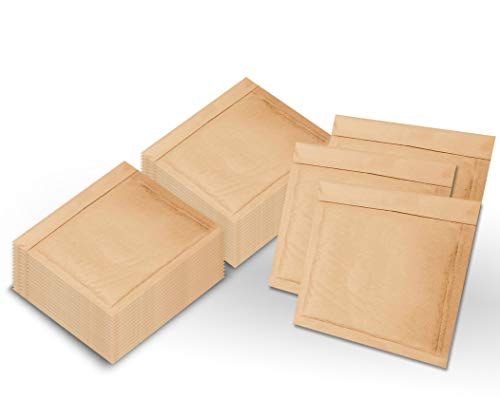 Pack of 250 CD Size Natural Kraft Bubble mailers 7.25 x 7 Brown Padded envelopes 7 1/4 x 7 by Amiff. Kraft Paper Cushion envelopes. Exterior Size 8.25 x 8 (8 1/4 x 8). Peel and Seal. Mailing, Shipping