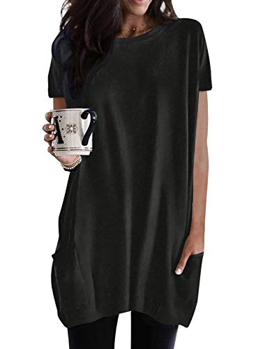 BLENCOT Maglietta Lunga Donna per Leggings Maglia a Manica Corta Maglietta Donna Larga Maglia Primaverile Lunga Maglia Estiva Larga per Primavera Estate Pullover Lungo Estivo L Nero