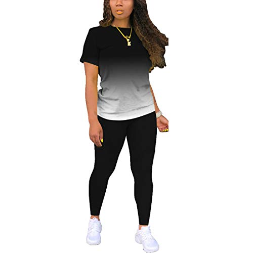 Two Piece Outfits For Women Sexy Sweatsuits Sets Summer Jogging Suit Matching Athletic Clothing Fashion Tracksuit Gradient Black XL