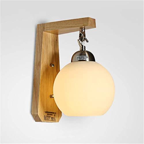 Lámparas de pared industriales, Luces de pared modernas Iluminación interior Simple estilo japonés Sombra de vidrio Lámpara de pared de madera E27 Pequeña pelota colgante Pared de noche Sconte para sa