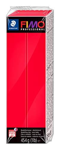 Rayher 34448287 Pasta modellabile termoindurente Fimo Professional, Panetto grande da 454g, colore Rosso