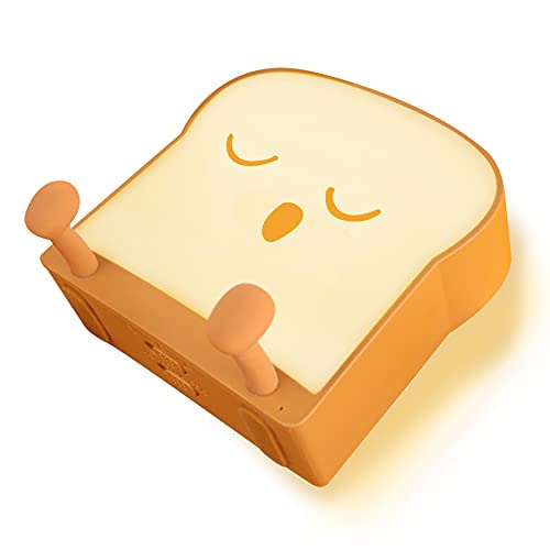 QANYI Toast Sliced Bread Food Night Light ,Room Decor Lights with Mobile Phone Stand Support ,Bedroom Decor for Adults and College Students Young People to Watch Videos and Read in Dorms (Sleep)