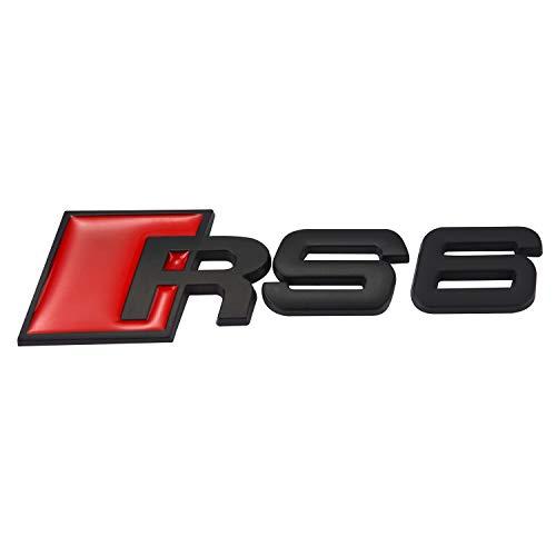Matt-Schwarz Und Rot 110mm x 30mm Metal Rückseite Boot Lid Tailgate Trunk Abzeichen Emblem Für RS6