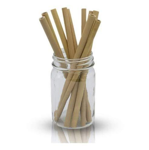 Pajitas de Bambú | Pajitas Reutilizables | Pack 10 Pajitas Biodegradables | Pajitas Cócteles | Pajitas Largas | Incluye Cepillo de Limpieza y Bolsa de Jute (19,5 cm)