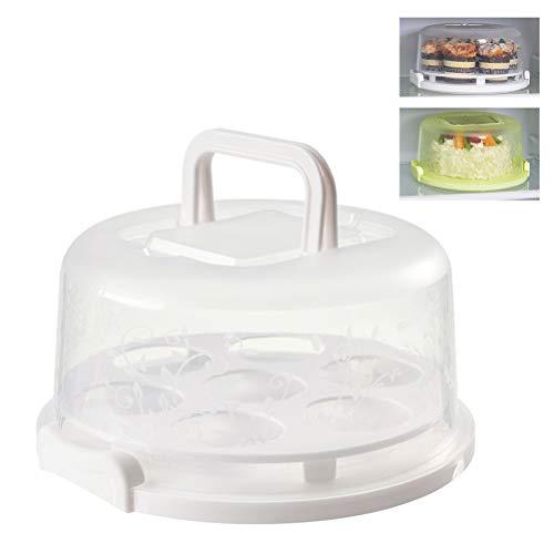SFNTION Soporte para tartas con tapa, soporte para servir postres, con asa, soporte para magdalenas, expositor con base