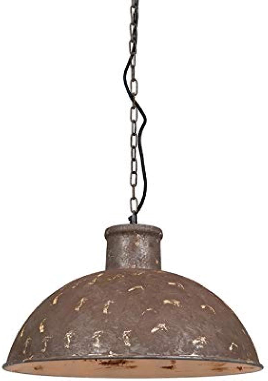 QAZQA Landhaus Vintage Rustikal Pendelleuchte Pendellampe Hngelampe Lampe Leuchte Raider verwittert grau Innenbeleuchtung Wohnzimmerlampe Schlafzimmer Küche Metall Rund LED geeign