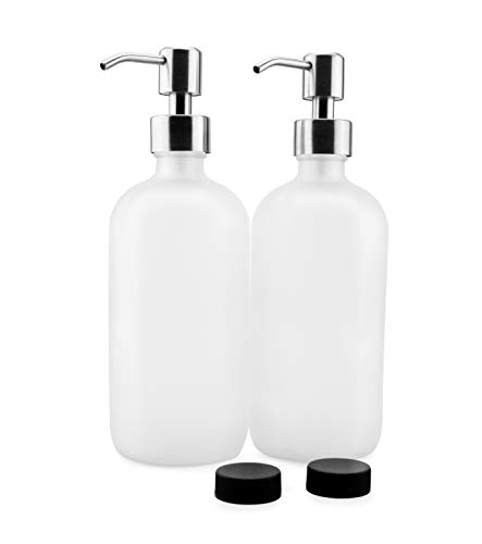 Cornucopia Brands Frosted Glass Soap Dispenser w/Stainless Steel Pumps (White Frosted, 16-Ounce, 2-Pack); Boston Round Bottles w/Lotion Pump Tops and Caps