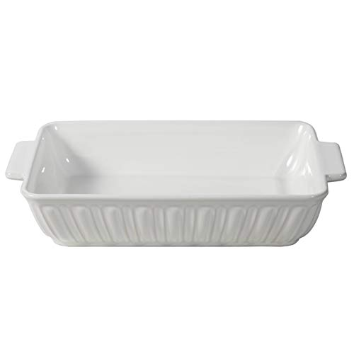 FE Baking Dish, Rome Pillar Bakeware, Ceramic Casserole Dish 11x8 Oven to Table, Lasagna Pan for Dinner & Banquet (Ivory White)