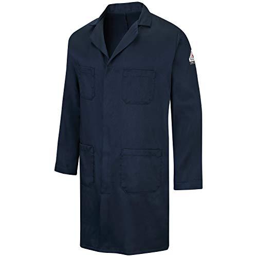 Bulwark FR Concealed Snap-Front Lab Coat, Navy, Medium