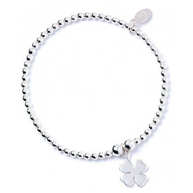bumble beads Sterling Silver 'Rice & Noodle' Ball Bead Bracelet with Four Leaf Clover Charm