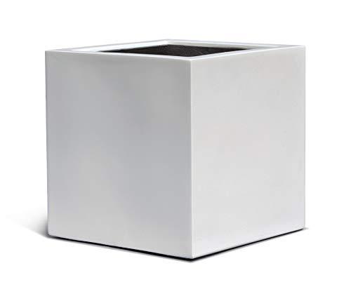 VAPLANTO® Pflanzkübel Cube 40 Weiß Quadratisch * 40 x 40 x 40 cm * Manufaktur Qualität * 10 Jahre Garantie