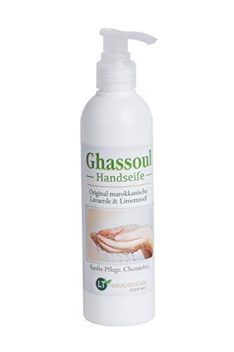 LT-Naturprodukte Handseife mit Lavaerde/Ghassoul | duftet nach Limette | ohne chemische Zusätze | 250 ml mit Spender | vegan & hypoallergen | biologisch abbaubar