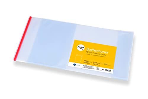 perfect line 12 x fundas para libros de 26,3 x 54 cm, protector de cuadernos transparente, claro y extraestable (145 µ), forros con borde adhesivo y encuadernados, fundas para libros