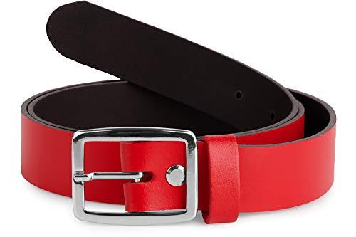 Merry Style Cintura Donna in 100{9adb613e8d9eb2c9b4a7ca7dbb4ce71ea10eb11a3c082dfe897221984866b9e4} Vera Pelle D41 (Rosso, 85 cm (Lunghezza totale 104 cm))
