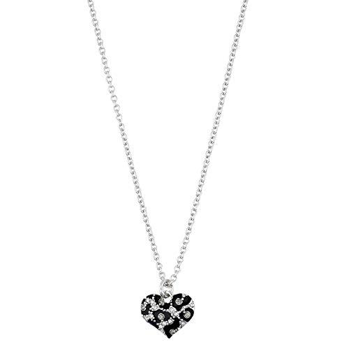 Guess Damen Halskette Metall Silber/Schwarz Herz UBN51469